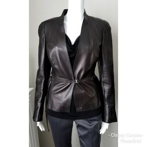 AKRIS black leather belted jacket
